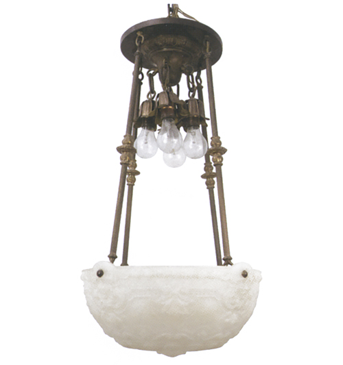 Bowl Lamp with Exposed Hanging Lights