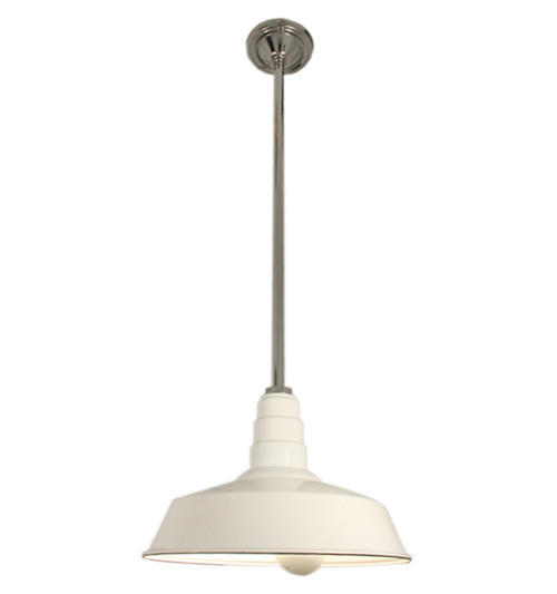 Industrial Light with White Enameled Shade