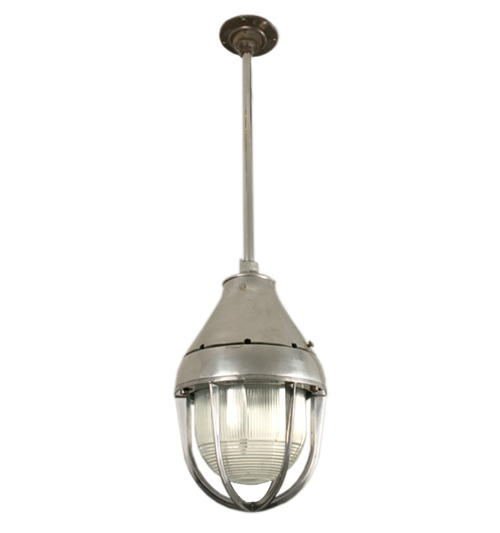 Industrial Pendant with Prismatic Shade and Cage